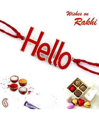 Stylish & Charming Red Hello Motif Kids Rakhi