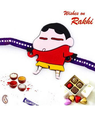 Cute Shinchan Purple Band Kids Rakhi