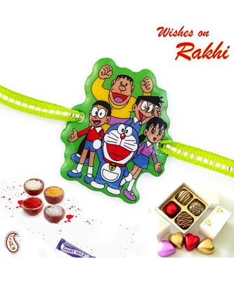 Sweet & Charming Doremon Family Green Band Kids Rakhi