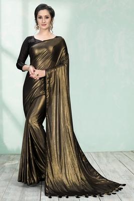 Gold plain silk saree with blouse