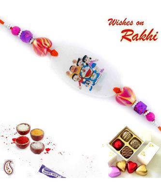 Pink & Purple Beads Doremon Family Motif Kids Rakhi