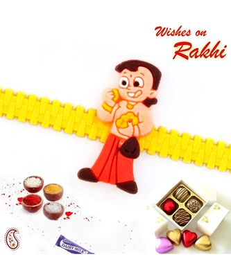 Lovely Chhota Bheem Yellow Strap Kids Rakhi