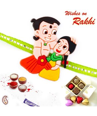 Chhota Bheem & Sister Motif Green Band Kids Rakhi