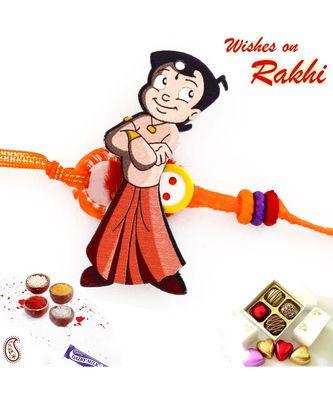 Sweet & Cute Chhota Bheem Orange Band Kids Rakhi