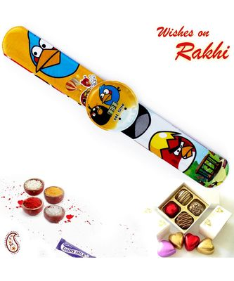 Multicolor Angry Bird Watch Style Kids Rakhi Band