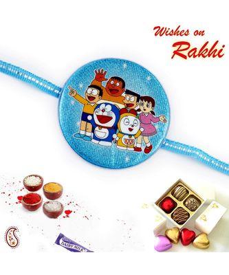 Blue Round Base Doremon Motif Kids Rakhi