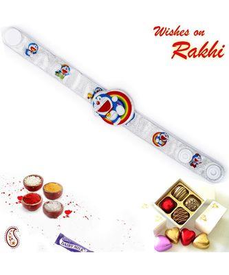 Silver Wrist Band Doremon Motif Kids Rakhi