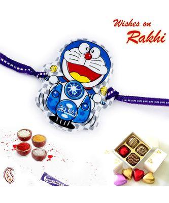 Smiling Doremon Motif Blue Kids Rakhi