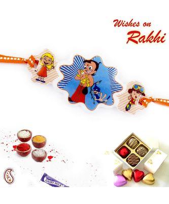 Cute Chhota Bheem With Ladoo Motif Kids Rakhi