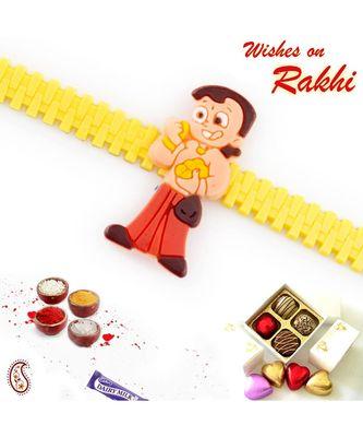 Yellow Band Chhota Bheem Motif Kids Rakhi