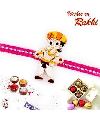Chhota Bheem In Pagdi Motif Kids Rakhi