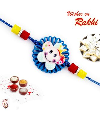Blue Cut Work Smiley Motif Kids Rakhi