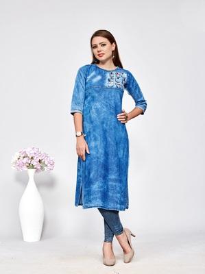Women's Blue Denim Cotton Preety Designer Kurtis