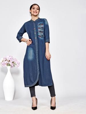 Women's Blue Denim Cotton Classy Designer Kurtis