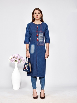 Women's Blue Denim Cotton Preety Designer Kurtis