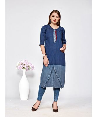 Women's Blue Denim Cotton Amzing Designer Kurtis