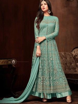 Turquoise  Heavy Embroidered Net Anarkali Suit