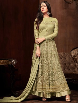 Olive Heavy Embroidered Net Anarkali Suit