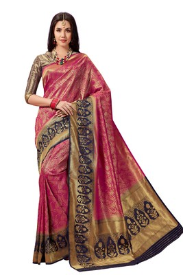 Purple woven faux silk saree with blouse