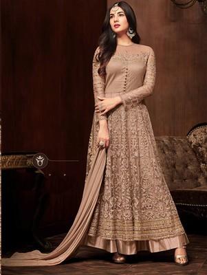 Light Golden Heavy Embroidered Net Anarkali Suit