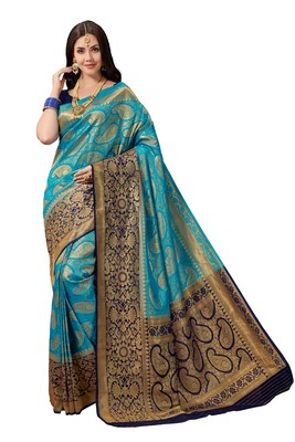 Blue woven faux silk saree with blouse