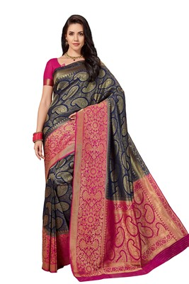 Navy blue woven faux silk saree with blouse