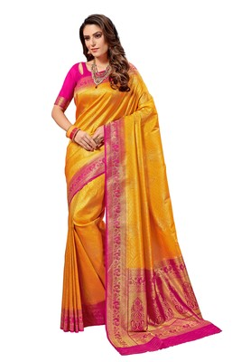 Yellow woven faux silk saree with blouse