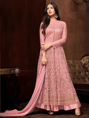 Light Pink Heavy Embroidered Net Anarkali Suit