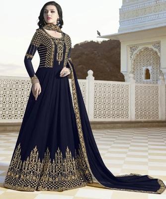 Navy Blue Faux Georgette Long Designer Anarkali Suit