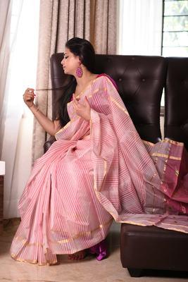 Pink striped chanderi saree