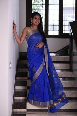 Ink blue chanderi saree