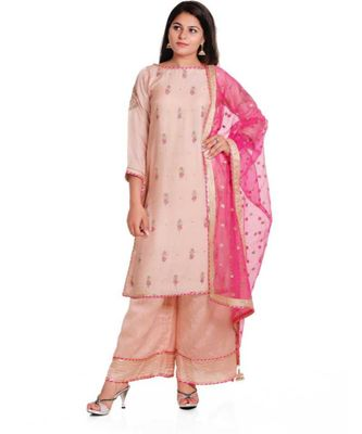 peach zardosi chanderi stitched readymade suits