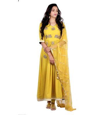 yellow zardosi crepe stitched readymade suits