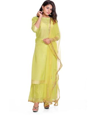 green gota cotton silk stitched readymade suits