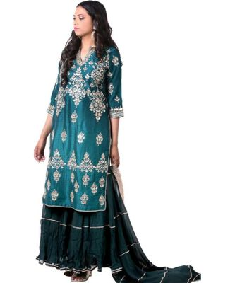 green embroidered crepe stitched readymade suits