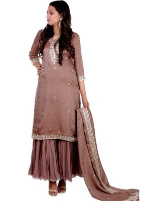 brown embroidered silk stitched readymade suits