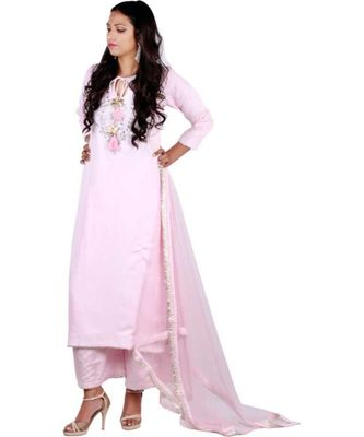 pink embroidered cotton silk stitched readymade suits