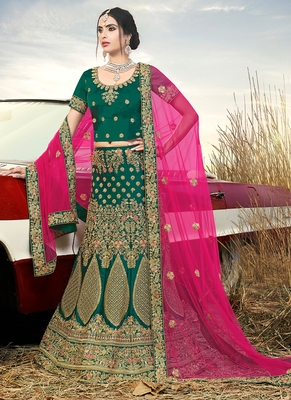 Dark-green embroidered satin semi stitched lehenga