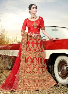 Red embroidered satin semi stitched lehenga