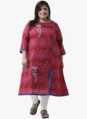 Women's Pink Embroidered Kurtas