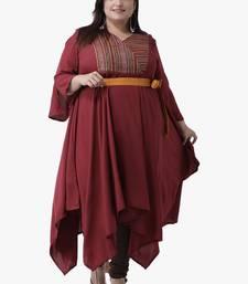 Women's Maroon Printed Dress