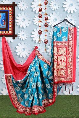 Rama Green Banarasi Art Silk Saree With Blouse