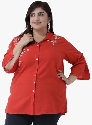 Women's Red Embroidered Tunics