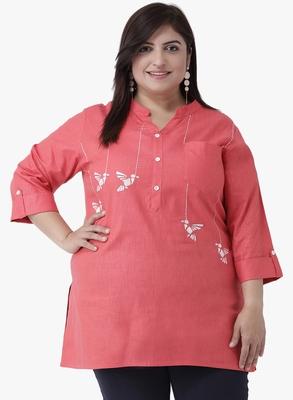 Women's Peach Embroidered Tunics