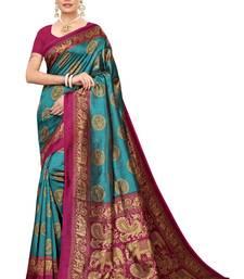Blue Banarasi Art Silk Saree With Blouse