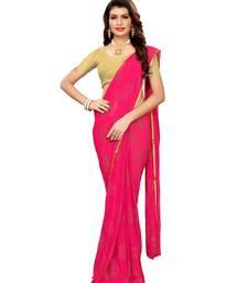 Pink woven Chiffon saree with blouse