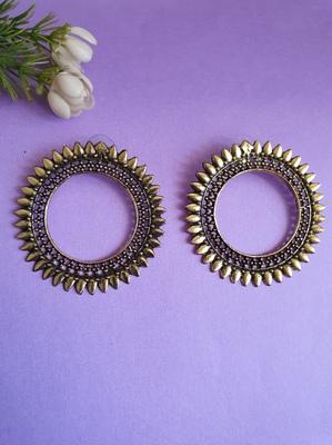 Infuzze Oxidised Silver-Toned Circular Drop Earrings