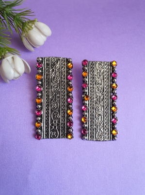 Infuzze Oxidised Silver-Toned & Pink Stone-Studded Rectangular Drop Earrings