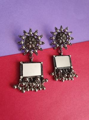 Infuzze Oxidised Silver-Toned Geometric Mirror Drop Earrings