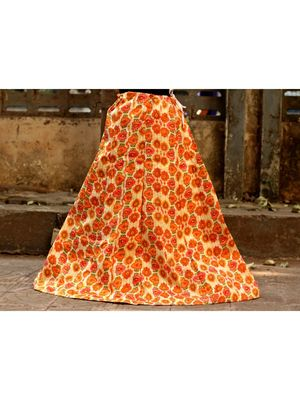 Orange Color Base Flower Printed With Border Big Flare Full Length Skirt